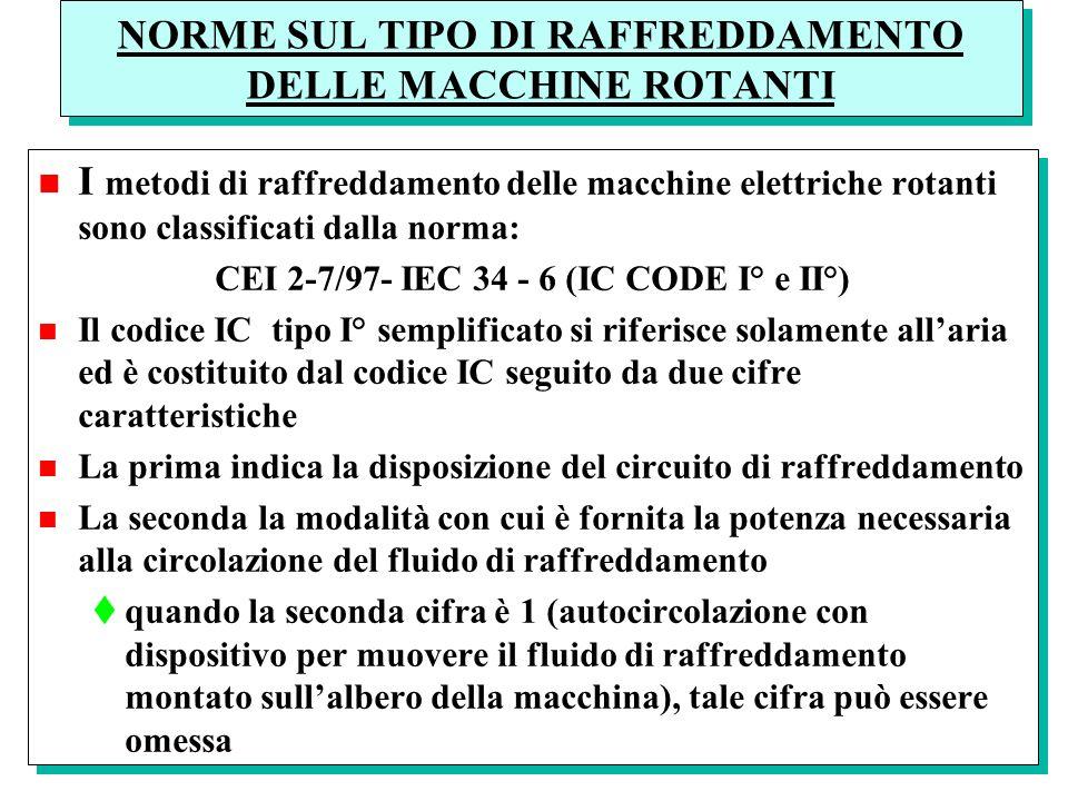 NORME SUL TIPO DI RAFFREDDAMENTO DELLE MACCHINE ROTANTI n I metodi di raffreddamento delle macchine elettriche rotanti sono classificati dalla norma:
