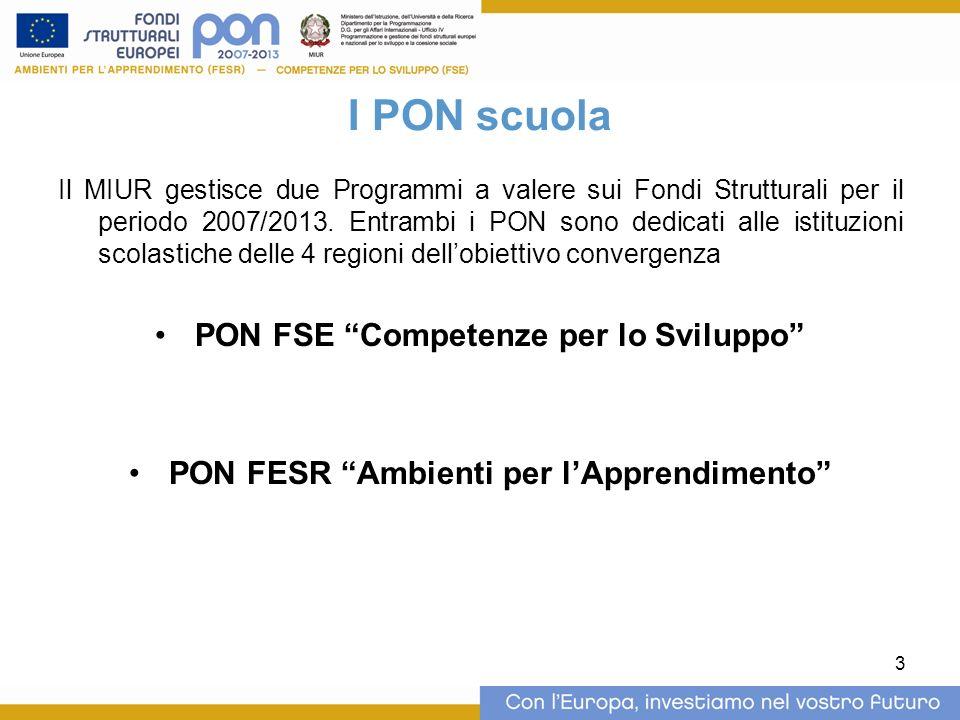 3 I PON scuola Il MIUR gestisce due Programmi a valere sui Fondi Strutturali per il periodo 2007/2013.