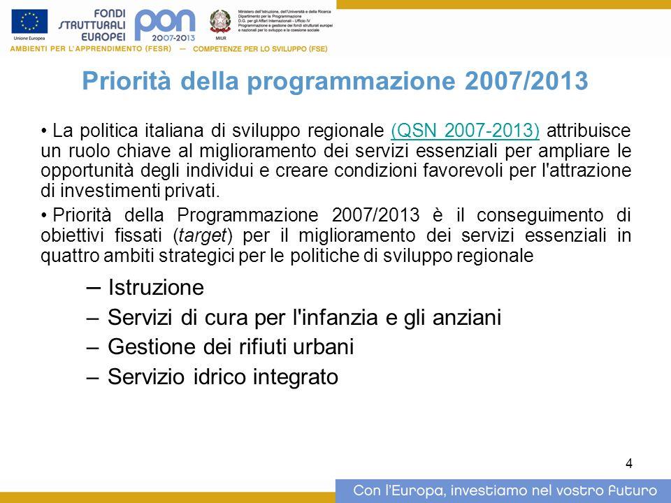 4 Priorità della programmazione 2007/2013 La politica italiana di sviluppo regionale (QSN 2007-2013) attribuisce un ruolo chiave al miglioramento dei servizi essenziali per ampliare le opportunità degli individui e creare condizioni favorevoli per l attrazione di investimenti privati.(QSN 2007-2013) Priorità della Programmazione 2007/2013 è il conseguimento di obiettivi fissati (target) per il miglioramento dei servizi essenziali in quattro ambiti strategici per le politiche di sviluppo regionale – Istruzione – Servizi di cura per l infanzia e gli anziani – Gestione dei rifiuti urbani – Servizio idrico integrato