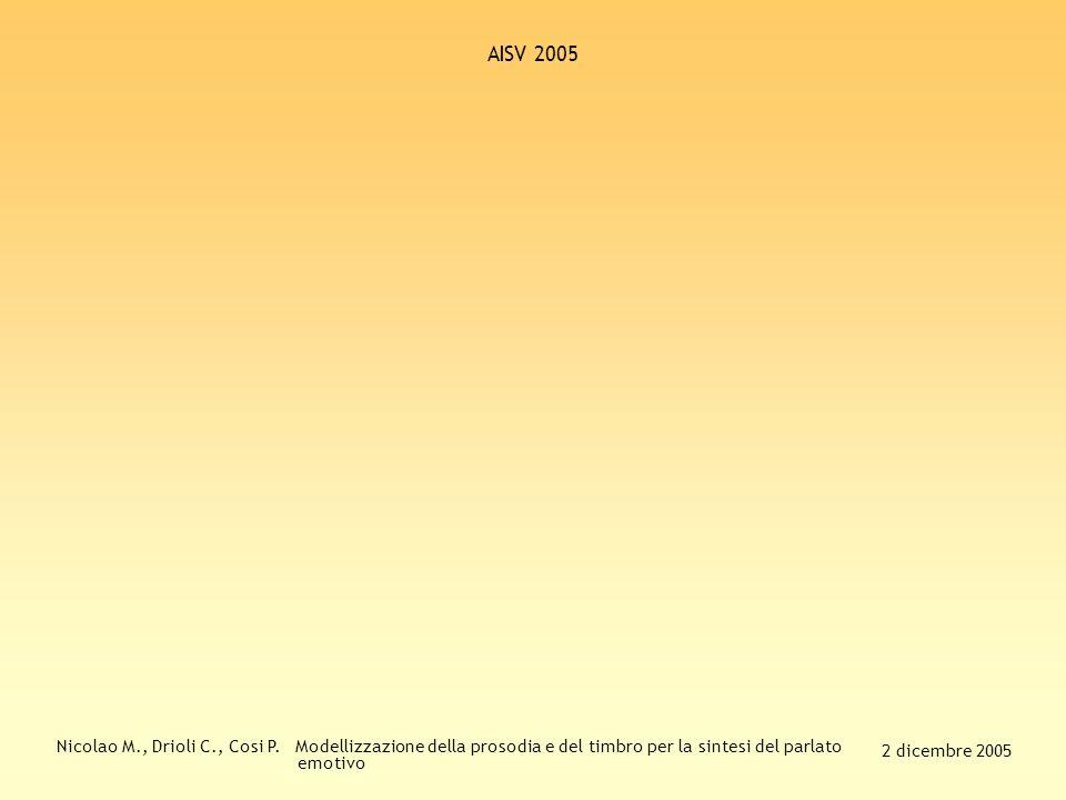 Nicolao M., Drioli C., Cosi P. Modellizzazione della prosodia e del timbro per la sintesi del parlato emotivo 2 dicembre 2005 AISV 2005 Sviluppi futur