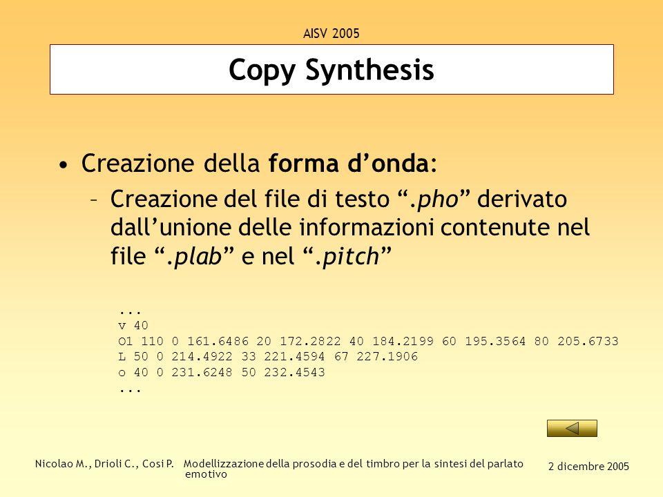 Nicolao M., Drioli C., Cosi P. Modellizzazione della prosodia e del timbro per la sintesi del parlato emotivo 2 dicembre 2005 AISV 2005 Copy Synthesis