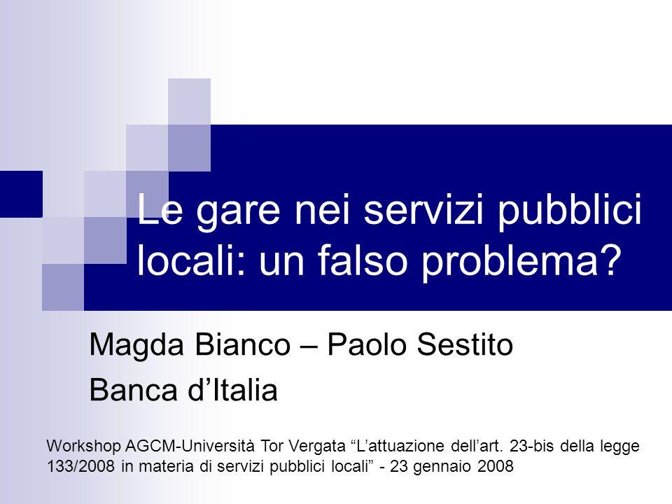 Le gare nei servizi pubblici locali: un falso problema.