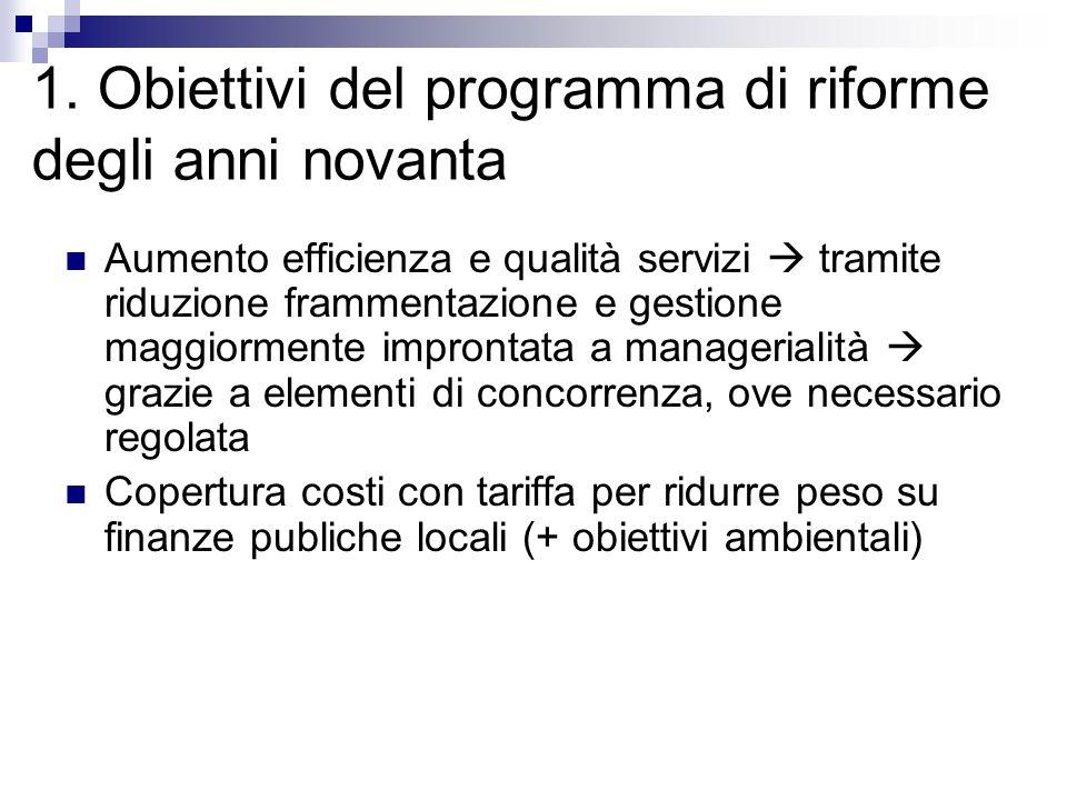 1. Obiettivi del programma di riforme degli anni novanta Aumento efficienza e qualità servizi tramite riduzione frammentazione e gestione maggiormente