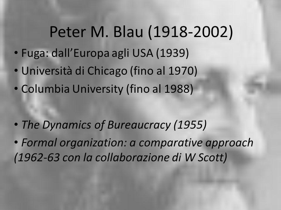 Peter M. Blau (1918-2002) Fuga: dallEuropa agli USA (1939) Università di Chicago (fino al 1970) Columbia University (fino al 1988) The Dynamics of Bur