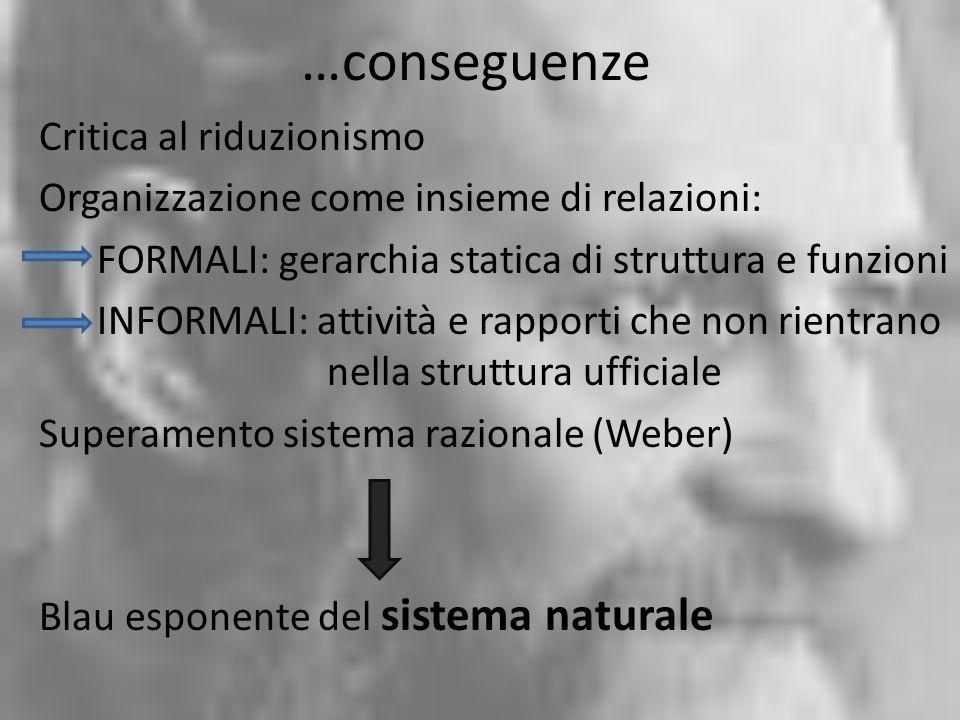 …conseguenze Critica al riduzionismo Organizzazione come insieme di relazioni: FORMALI: gerarchia statica di struttura e funzioni INFORMALI: attività