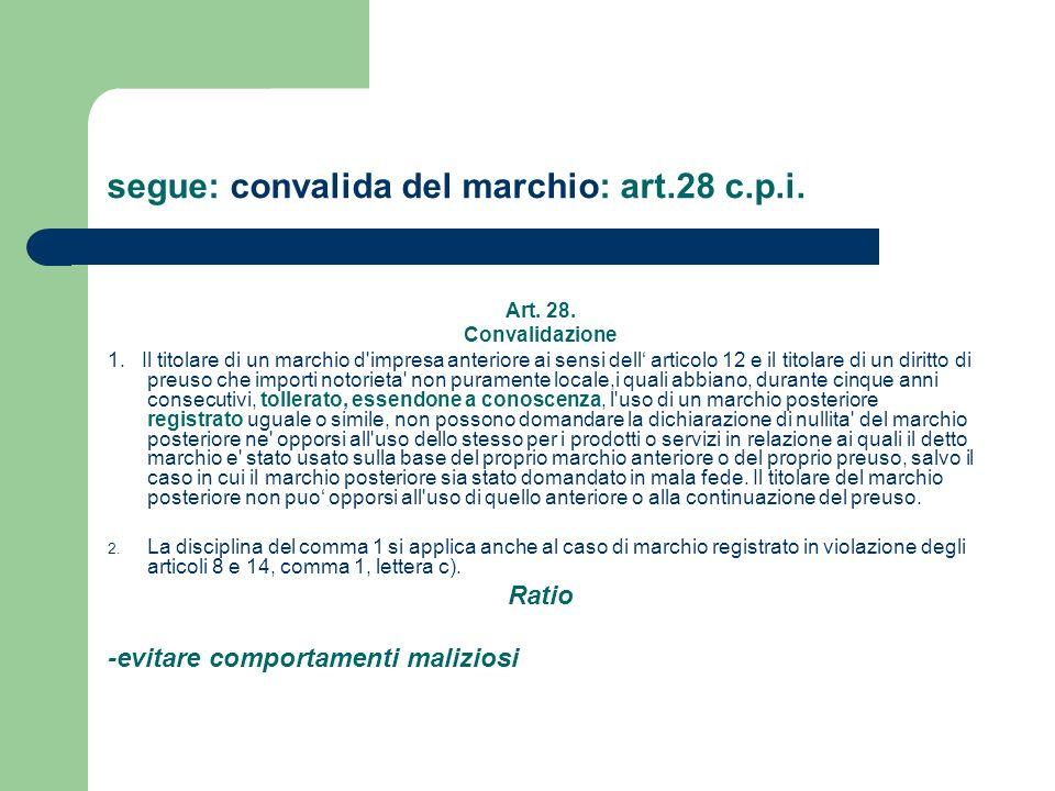 segue: convalida del marchio: art.28 c.p.i. Art. 28. Convalidazione 1. Il titolare di un marchio d'impresa anteriore ai sensi dell articolo 12 e il ti
