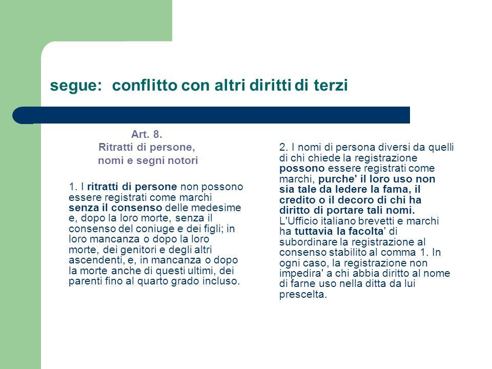 segue: conflitto con altri diritti di terzi Art. 8. Ritratti di persone, nomi e segni notori 1. I ritratti di persone non possono essere registrati co