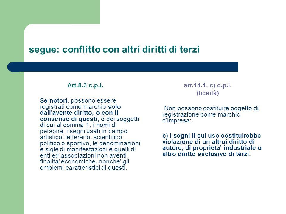 segue: conflitto con altri diritti di terzi Art.8.3 c.p.i. Se notori, possono essere registrati come marchio solo dall'avente diritto, o con il consen