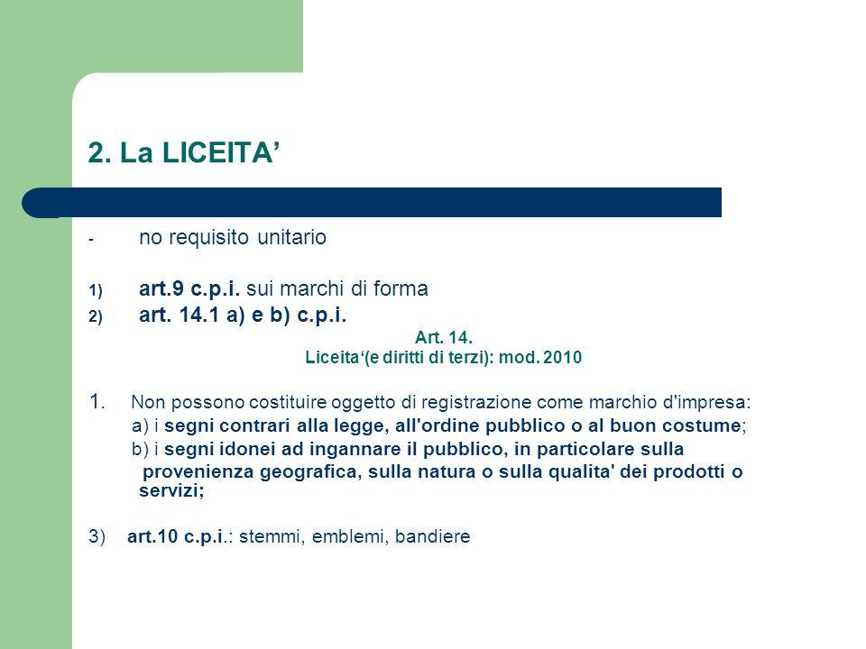 2. La LICEITA - no requisito unitario 1) art.9 c.p.i. sui marchi di forma 2) art. 14.1 a) e b) c.p.i. Art. 14. Liceita(e diritti di terzi): mod. 2010