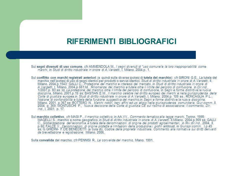 RIFERIMENTI BIBLIOGRAFICI Sui segni divenuti di uso comune, cfr AMMENDOLA M., I segni divenuti di uso comunee la loro inappropriabilità come marchi, i