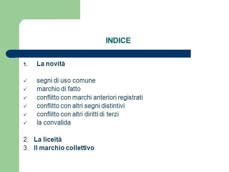 INDICE 1. La novità segni di uso comune marchio di fatto conflitto con marchi anteriori registrati conflitto con altri segni distintivi conflitto con