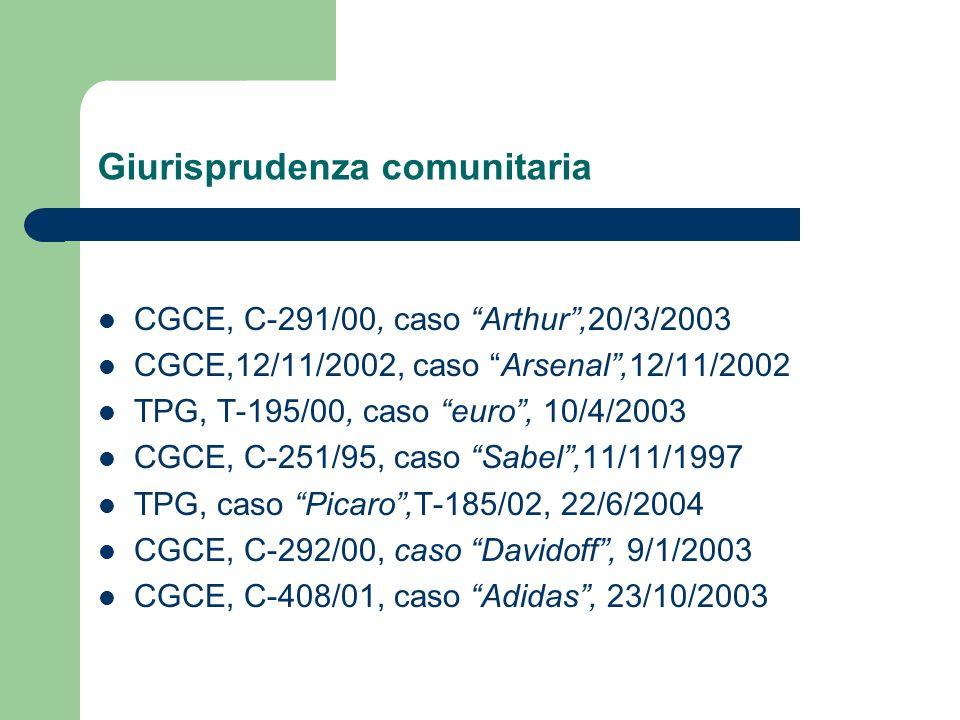Giurisprudenza comunitaria CGCE, C-291/00, caso Arthur,20/3/2003 CGCE,12/11/2002, caso Arsenal,12/11/2002 TPG, T-195/00, caso euro, 10/4/2003 CGCE, C-