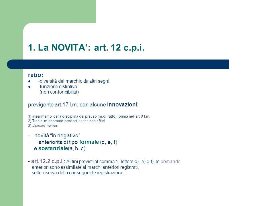 1. La NOVITA: art. 12 c.p.i. ratio: -diversità del marchio da altri segni -funzione distintiva (non confondibilità) previgente art.17 l.m. con alcune