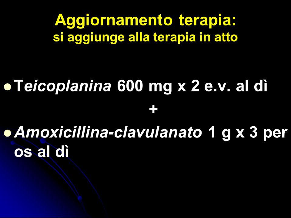 Aggiornamento terapia: si aggiunge alla terapia in atto Teicoplanina 600 mg x 2 e.v. al dì + Amoxicillina-clavulanato 1 g x 3 per os al dì