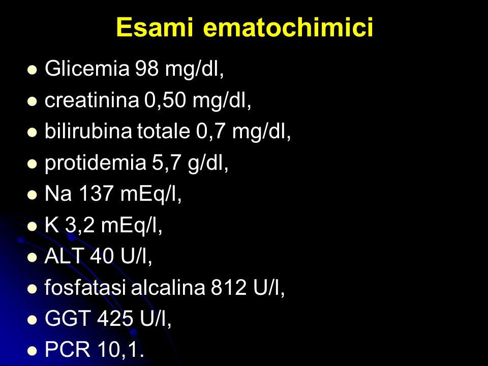 Esami ematochimici Glicemia 98 mg/dl, creatinina 0,50 mg/dl, bilirubina totale 0,7 mg/dl, protidemia 5,7 g/dl, Na 137 mEq/l, K 3,2 mEq/l, ALT 40 U/l,