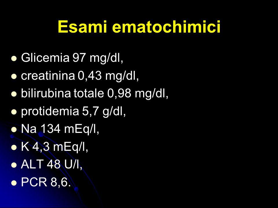 Esami ematochimici Glicemia 97 mg/dl, creatinina 0,43 mg/dl, bilirubina totale 0,98 mg/dl, protidemia 5,7 g/dl, Na 134 mEq/l, K 4,3 mEq/l, ALT 48 U/l,