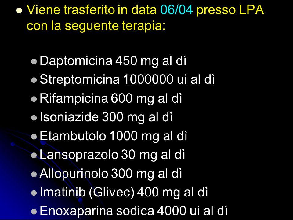 Viene trasferito in data 06/04 presso LPA con la seguente terapia: Daptomicina 450 mg al dì Streptomicina 1000000 ui al dì Rifampicina 600 mg al dì Is