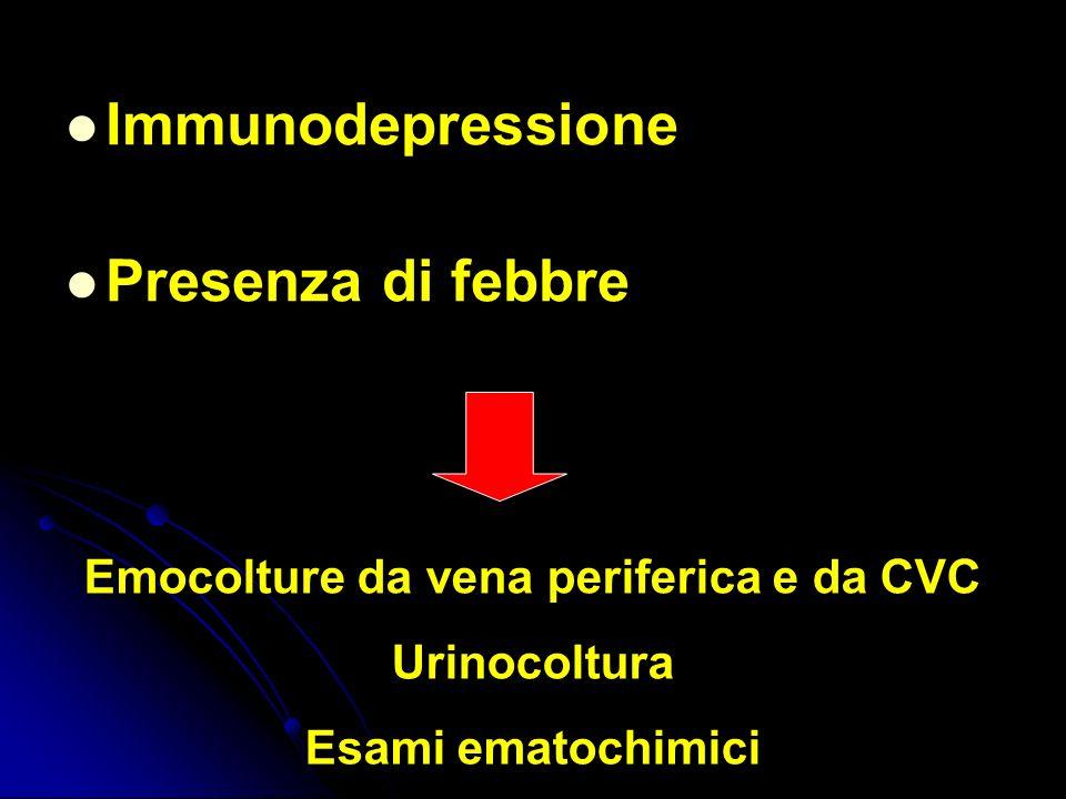 Immunodepressione Presenza di febbre Emocolture da vena periferica e da CVC Urinocoltura Esami ematochimici