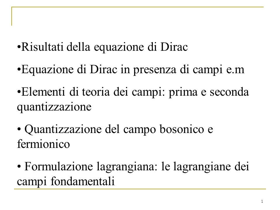 1 Risultati della equazione di Dirac Equazione di Dirac in presenza di campi e.m Elementi di teoria dei campi: prima e seconda quantizzazione Quantizz