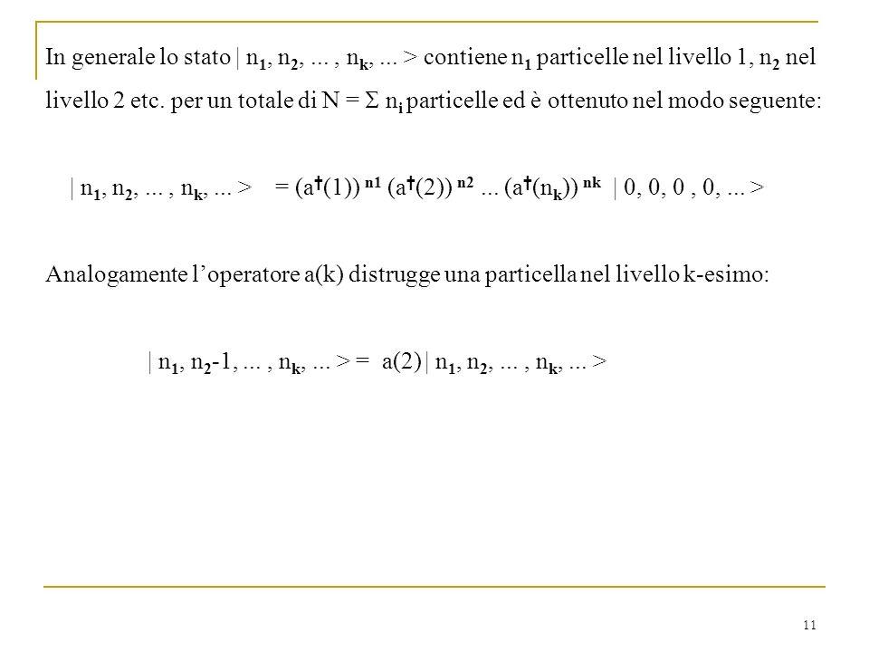 11 In generale lo stato   n 1, n 2,..., n k,... > contiene n 1 particelle nel livello 1, n 2 nel livello 2 etc. per un totale di N = n i particelle ed
