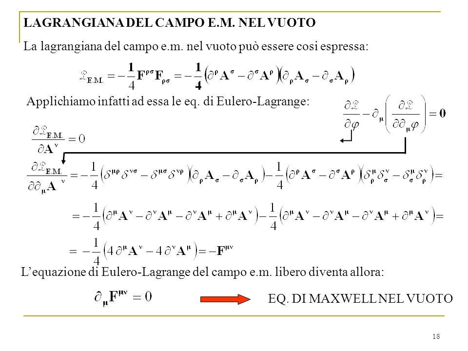 18 LAGRANGIANA DEL CAMPO E.M. NEL VUOTO La lagrangiana del campo e.m. nel vuoto può essere cosi espressa: Applichiamo infatti ad essa le eq. di Eulero