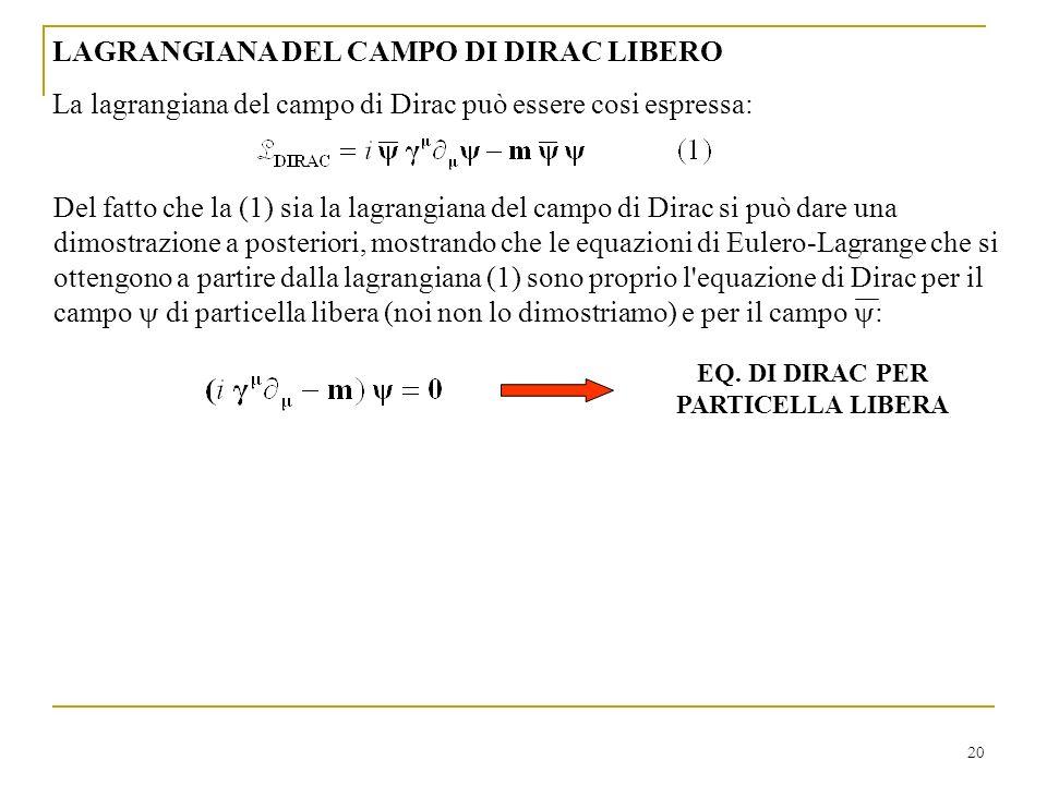 20 LAGRANGIANA DEL CAMPO DI DIRAC LIBERO La lagrangiana del campo di Dirac può essere cosi espressa: EQ. DI DIRAC PER PARTICELLA LIBERA Del fatto che
