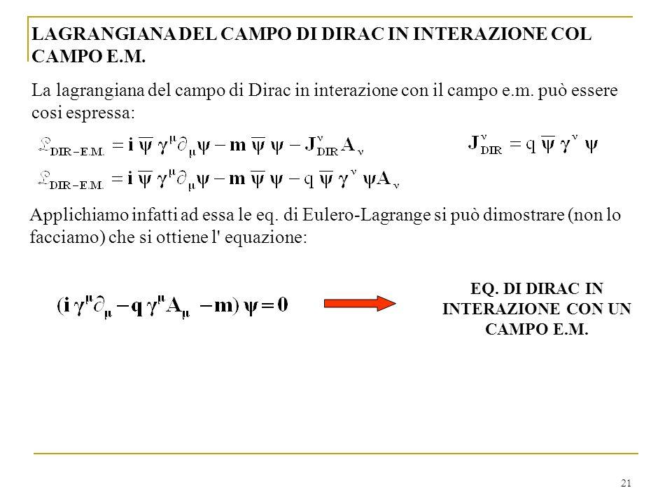 21 LAGRANGIANA DEL CAMPO DI DIRAC IN INTERAZIONE COL CAMPO E.M. La lagrangiana del campo di Dirac in interazione con il campo e.m. può essere cosi esp