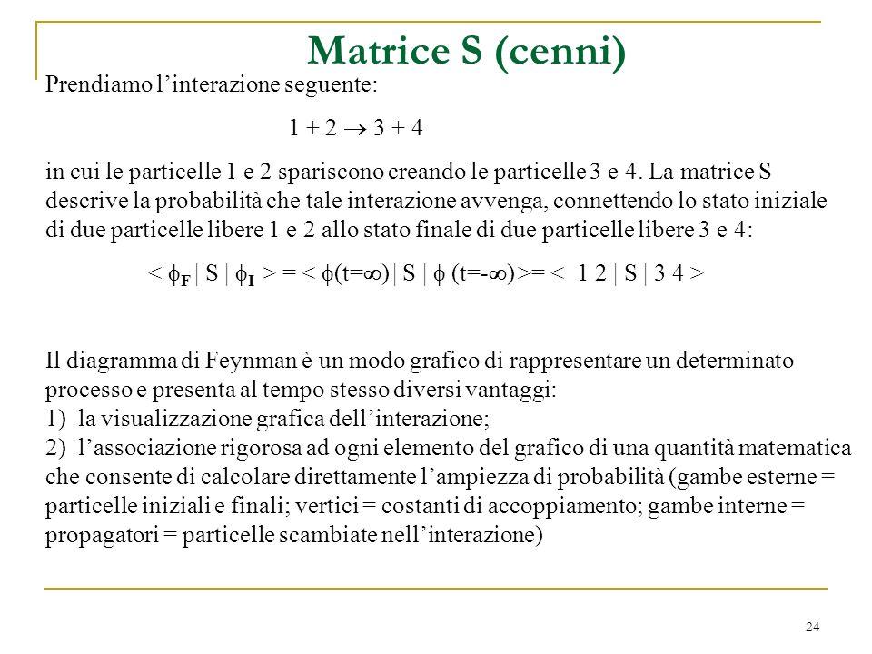 24 Matrice S (cenni) Prendiamo linterazione seguente: 1 + 2 3 + 4 in cui le particelle 1 e 2 spariscono creando le particelle 3 e 4. La matrice S desc