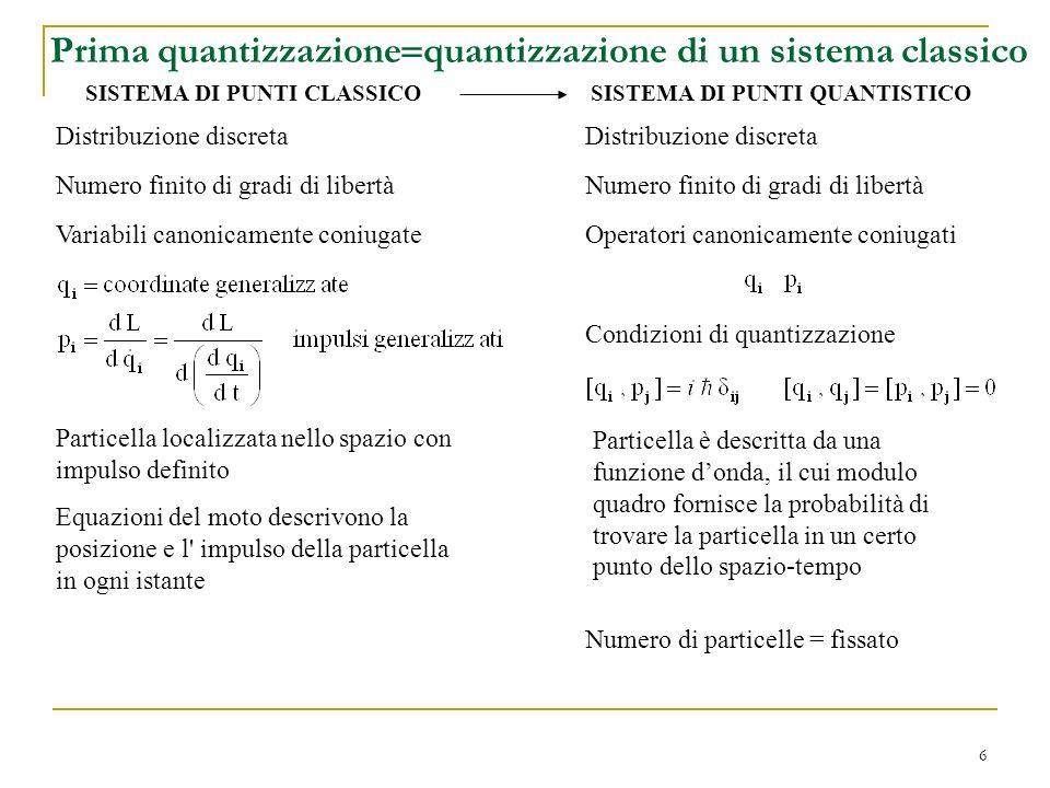 6 Prima quantizzazione quantizzazione di un sistema classico Distribuzione discreta Numero finito di gradi di libertà Operatori canonicamente coniugat