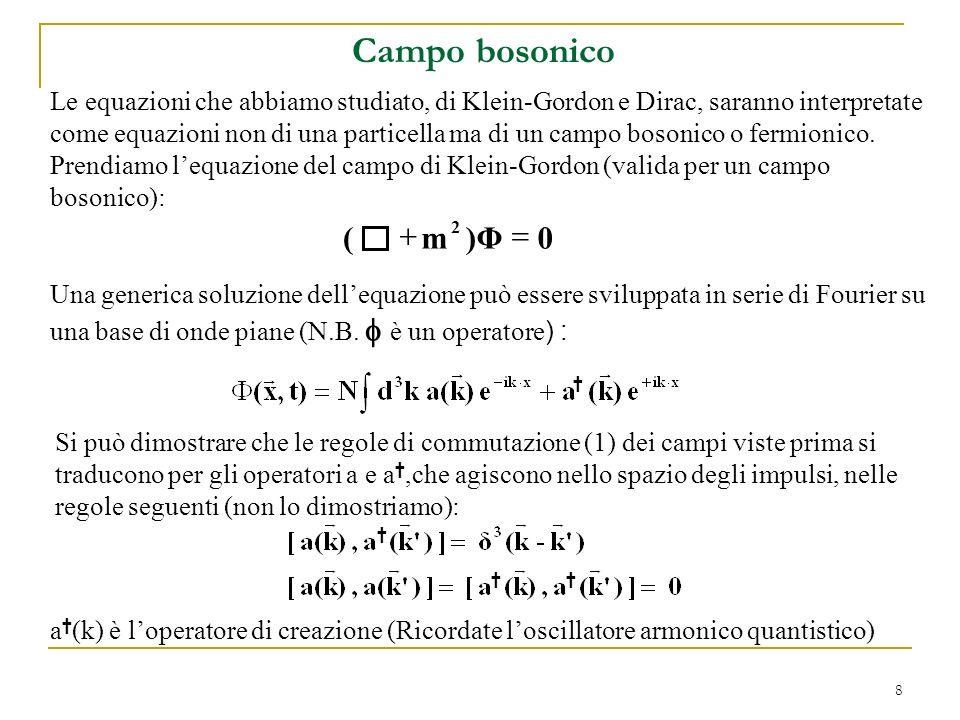 8 Le equazioni che abbiamo studiato, di Klein-Gordon e Dirac, saranno interpretate come equazioni non di una particella ma di un campo bosonico o ferm