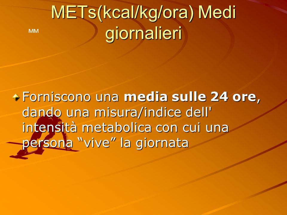 METs(kcal/kg/ora) Medi giornalieri Forniscono una media sulle 24 ore, dando una misura/indice dell' intensità metabolica con cui una persona vive la g