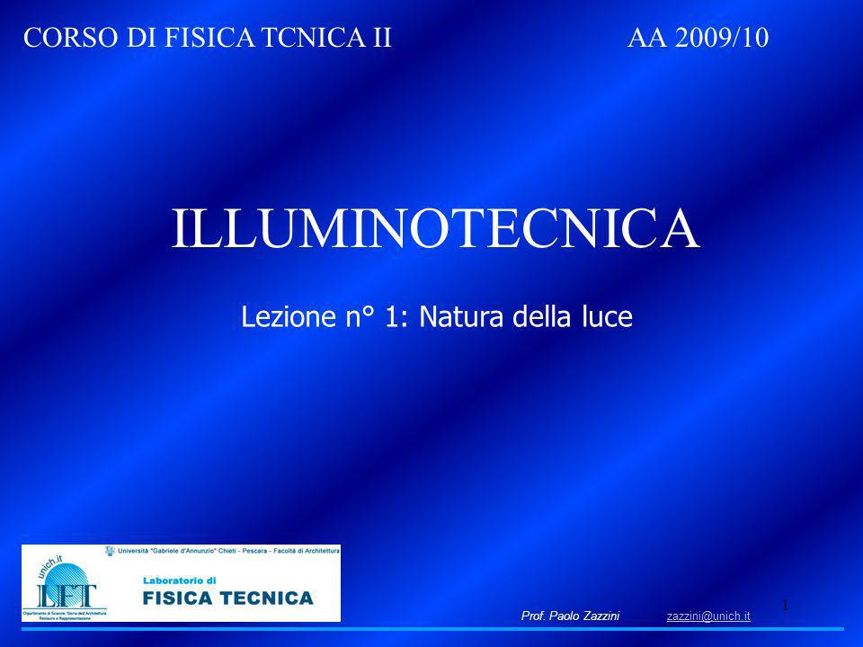 1 Prof. Paolo Zazzini zazzini@unich.itzazzini@unich.it CORSO DI FISICA TCNICA II AA 2009/10 ILLUMINOTECNICA Lezione n° 1: Natura della luce