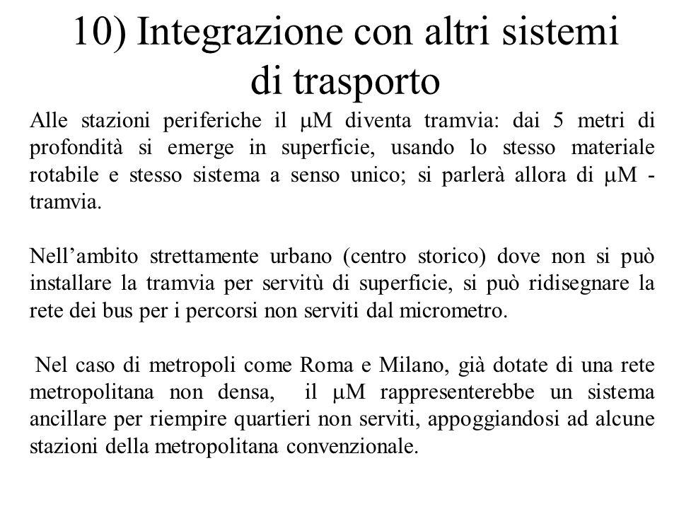 10) Integrazione con altri sistemi di trasporto Alle stazioni periferiche il M diventa tramvia: dai 5 metri di profondità si emerge in superficie, usa