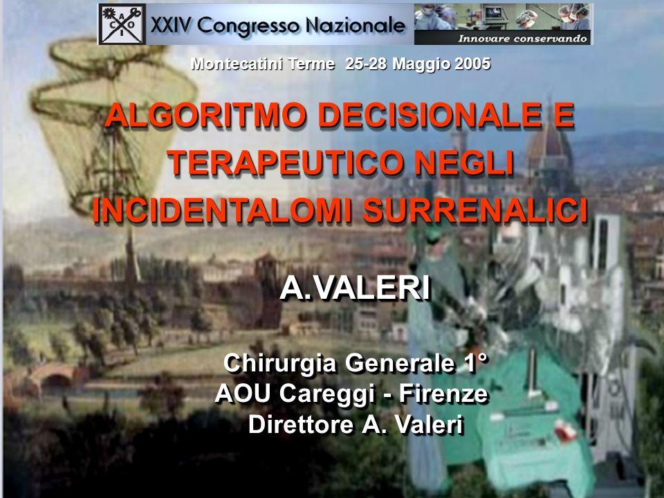 ALGORITMO DECISIONALE E TERAPEUTICO NEGLI INCIDENTALOMI SURRENALICI A.VALERI Chirurgia Generale 1° AOU Careggi - Firenze Direttore A. Valeri A.VALERI