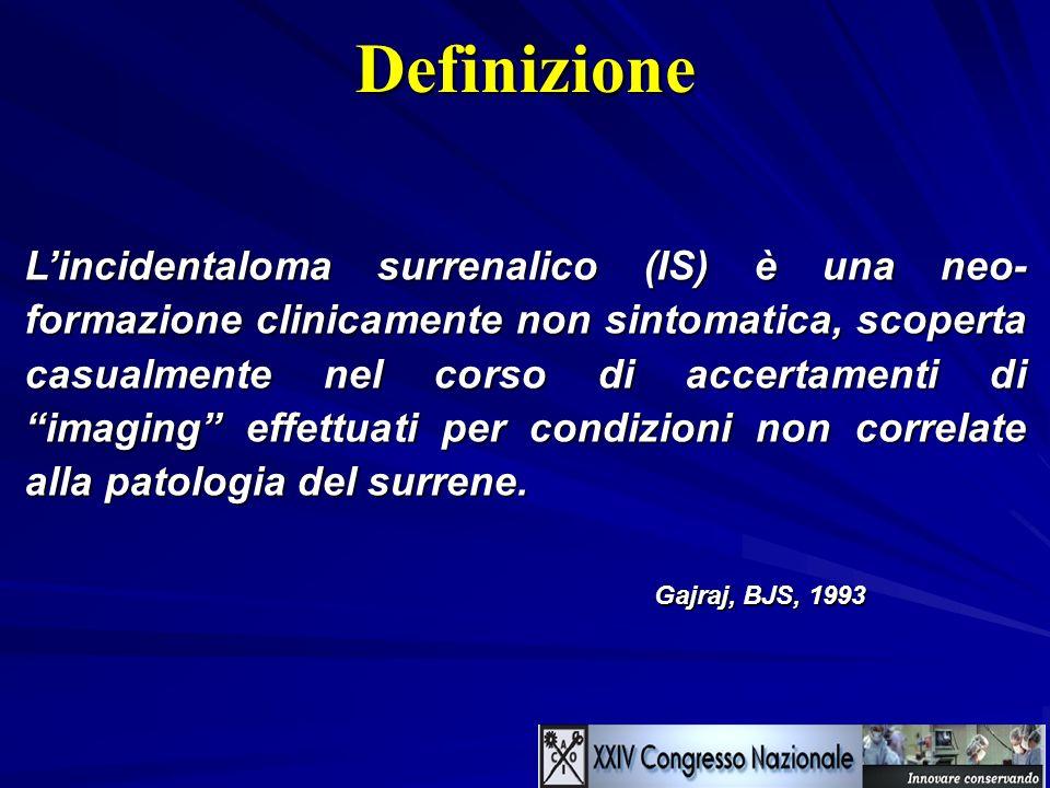 Prevalenza generale Casistiche di imaging 0.35 – 4.4% Casistiche autoptiche > 5% (aumenta con letà oltre 30 aa) Bilaterale circa 10% Istologia > 50% Adenomi non funzionanti AI > 4 cm 13% Cancri