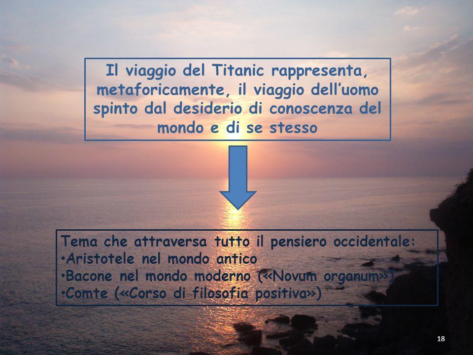 18 Il viaggio del Titanic rappresenta, metaforicamente, il viaggio delluomo spinto dal desiderio di conoscenza del mondo e di se stesso Tema che attra