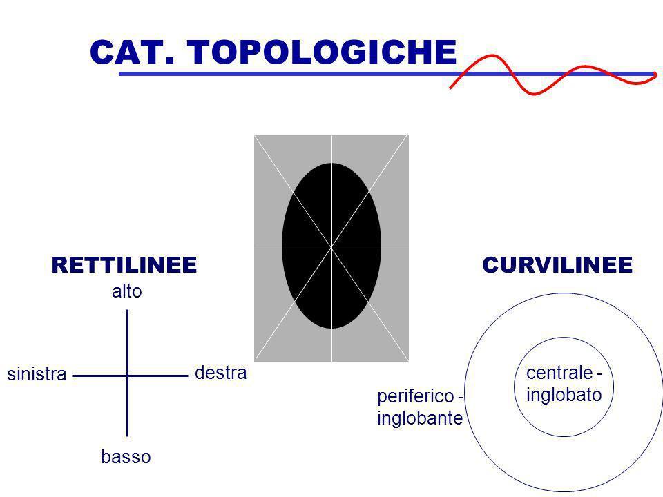 CAT. TOPOLOGICHE alto destra basso sinistra RETTILINEECURVILINEE periferico - inglobante centrale - inglobato