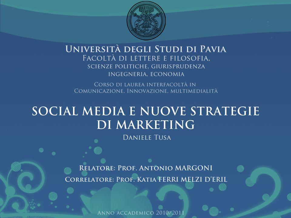 RINGRAZIAMENTI Ringrazio il mio relatore, il Professor Antonio Margoni per la sua grande disponibilità e la Prof.ssa Katia Ferri Melzi DEril per la sua collaborazione Social media e nuove strategie di marketing