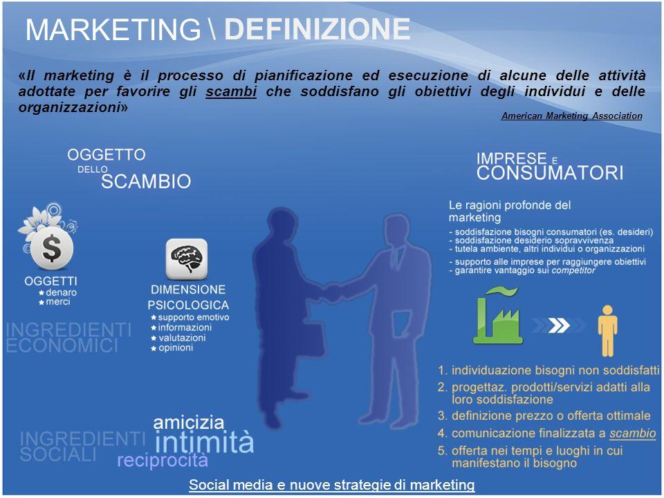 Social media e nuove strategie di marketing MARKETING «Il marketing è il processo di pianificazione ed esecuzione di alcune delle attività adottate pe