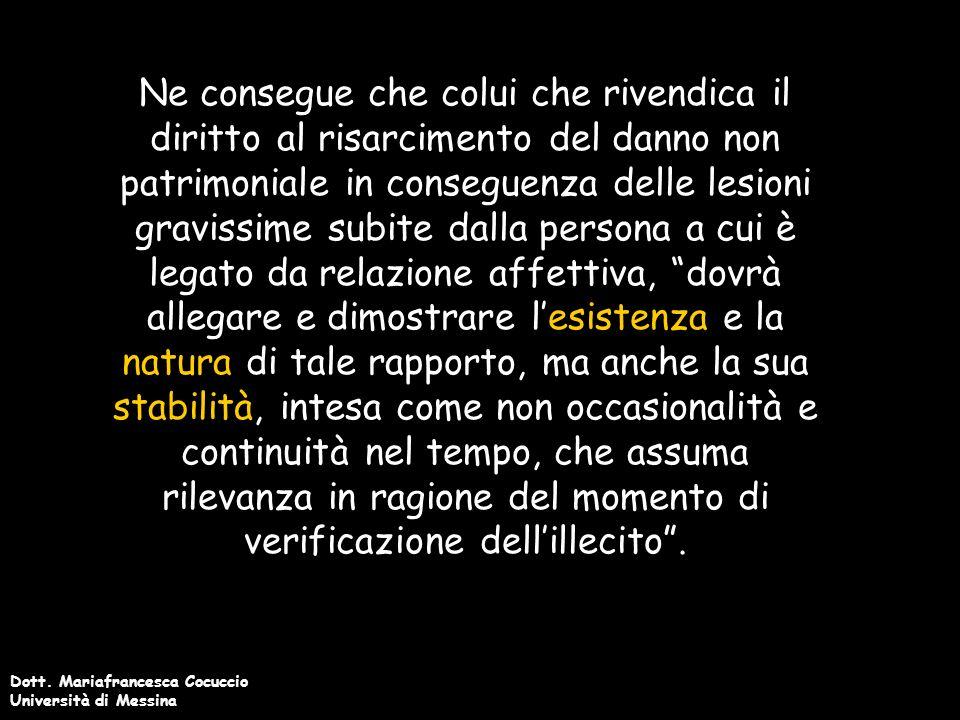 Dott.Mariafrancesca Cocuccio Università di Messina Cass.