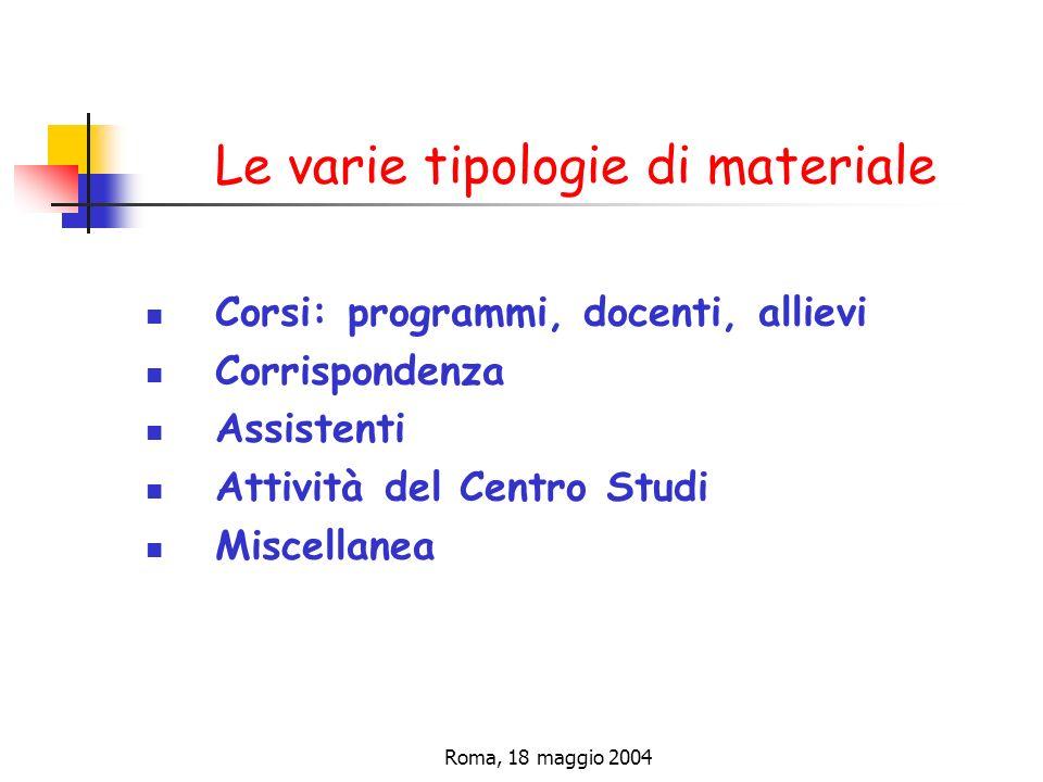Roma, 18 maggio 2004 Le varie tipologie di materiale Corsi: programmi, docenti, allievi Corrispondenza Assistenti Attività del Centro Studi Miscellanea