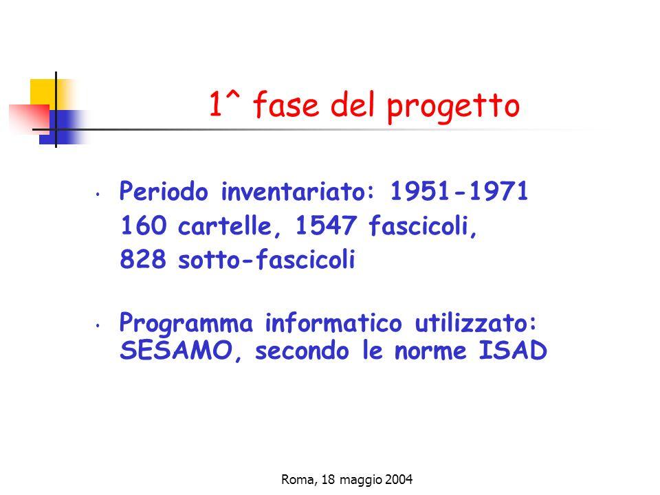 Roma, 18 maggio 2004 1^ fase del progetto Periodo inventariato: 1951-1971 160 cartelle, 1547 fascicoli, 828 sotto-fascicoli Programma informatico utilizzato: SESAMO, secondo le norme ISAD