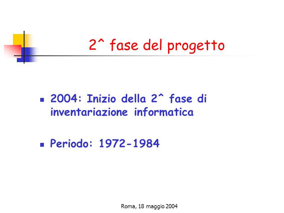Roma, 18 maggio 2004 2^ fase del progetto 2004: Inizio della 2^ fase di inventariazione informatica Periodo: 1972-1984