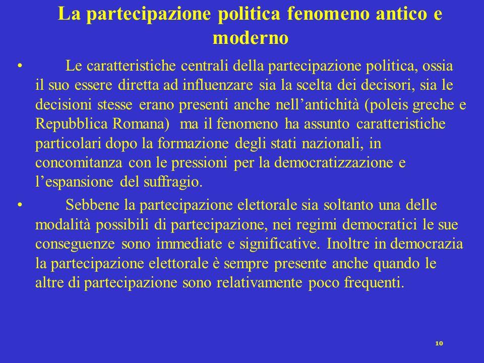 9 La partecipazione nelle organizzazioni: limportanza degli incentivi Una partecipazione sostenuta e costante allinterno delle organizzazioni politich