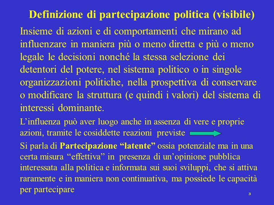 2 Verso una definizione di partecipazione politica Il coinvolgimento dellindividuo nel sistema politico, a vari livelli di attività, dal disinteresse
