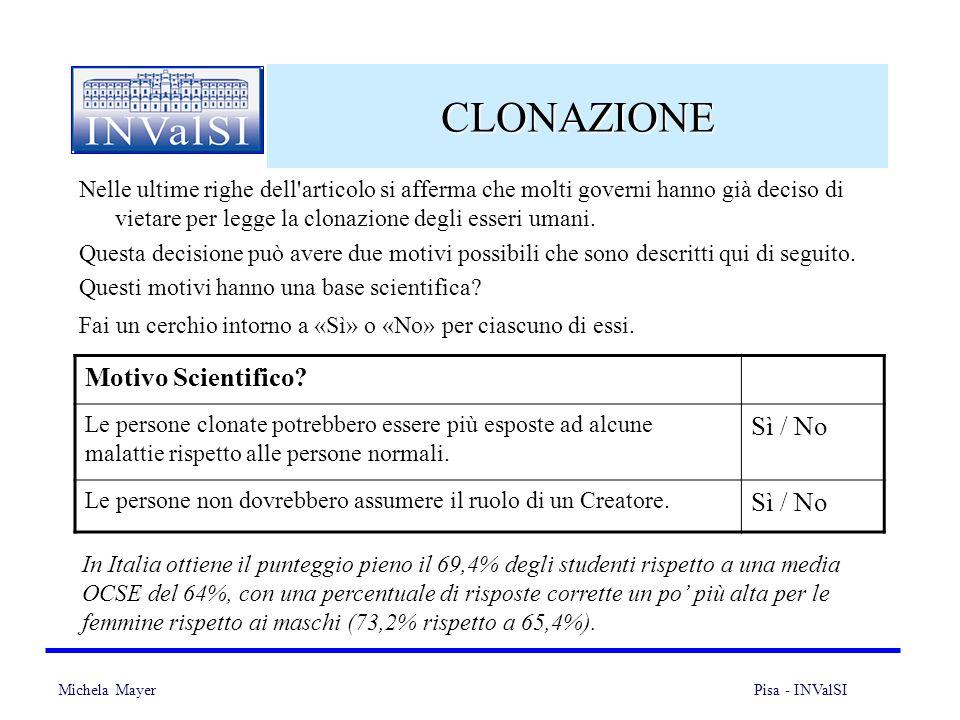 Michela Mayer Pisa - INValSI 19 CLONAZIONE Nelle ultime righe dell articolo si afferma che molti governi hanno già deciso di vietare per legge la clonazione degli esseri umani.