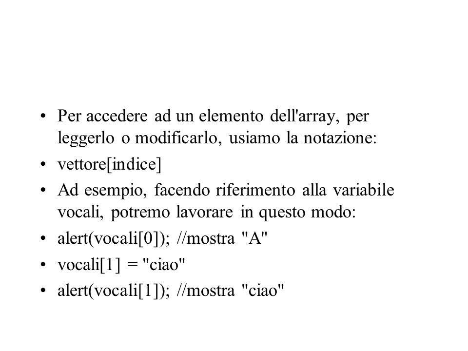 Per accedere ad un elemento dell'array, per leggerlo o modificarlo, usiamo la notazione: vettore[indice] Ad esempio, facendo riferimento alla variabil