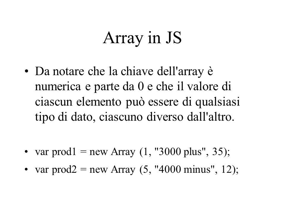 Array in JS Da notare che la chiave dell'array è numerica e parte da 0 e che il valore di ciascun elemento può essere di qualsiasi tipo di dato, ciasc