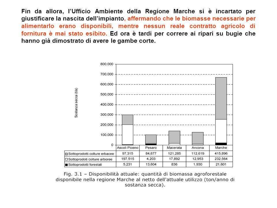 Fin da allora, lUfficio Ambiente della Regione Marche si è incartato per giustificare la nascita dellimpianto, affermando che le biomasse necessarie per alimentarlo erano disponibili, mentre nessun reale contratto agricolo di fornitura è mai stato esibito.