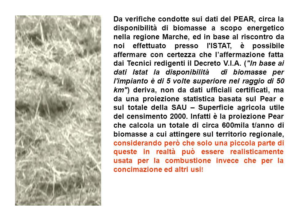 Da verifiche condotte sui dati del PEAR, circa la disponibilità di biomasse a scopo energetico nella regione Marche, ed in base al riscontro da noi effettuato presso l ISTAT, è possibile affermare con certezza che laffermazione fatta dai Tecnici redigenti il Decreto V.I.A.